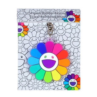 Flower Rubber Keyring ClearRainbow&White(キーホルダー)