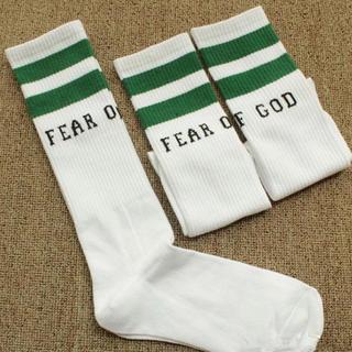 フィアオブゴッド(FEAR OF GOD)のFEAR OF GOD 靴下 ソックス 白 緑ライン(ソックス)