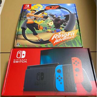 ニンテンドースイッチ(Nintendo Switch)のNintendo Switch ネオン リングフィットアドベンチャーセット 新品(家庭用ゲーム機本体)