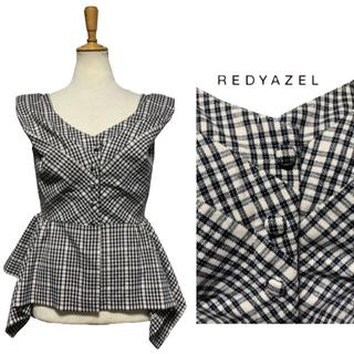 レディアゼル(REDYAZEL)の新品 送料無料 レディアゼル チェック変形ペプラムブラウス 白x黒チェック柄 M(シャツ/ブラウス(半袖/袖なし))