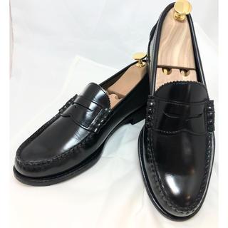 リーガル(REGAL)の美品 REGALリーガル コインローファー 16DR ガラスレザーブラック 革靴(ローファー/革靴)