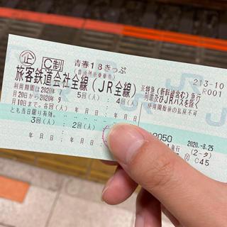 ジェイアール(JR)の青春18きっぷ 4回分切符(鉄道乗車券)