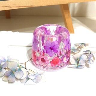 【再版】No.154 八重の紫陽花♡固まるハーバリウムペン立て•印鑑立て(ドライフラワー)