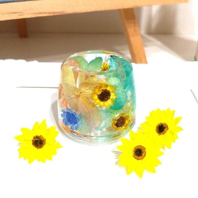No.155 ミニ向日葵in♡固まるハーバリウムペン立て•印鑑立て ハンドメイドのフラワー/ガーデン(ドライフラワー)の商品写真