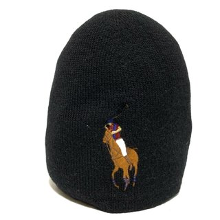 ポロラルフローレン(POLO RALPH LAUREN)のポロラルフローレン ニット帽 - 黒 刺繍(ニット帽/ビーニー)