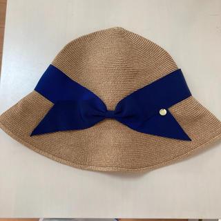 ボンポワン(Bonpoint)のアシーナニューヨーク ガール 麦わら帽子 リサコ  タン×ネイビー  L 54(帽子)