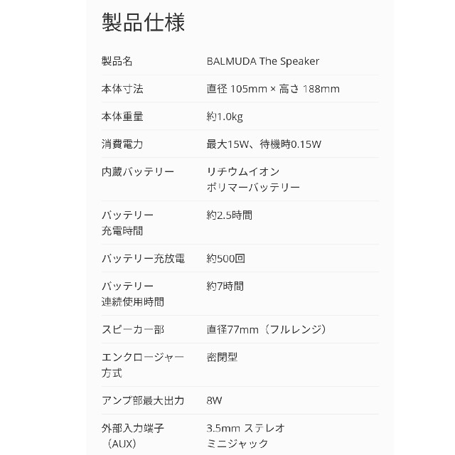 BALMUDA(バルミューダ)の【新品未使用】 BALMUDA The Speaker M01A-BK  スマホ/家電/カメラのオーディオ機器(スピーカー)の商品写真