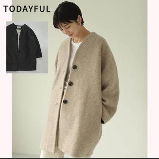 トゥデイフル(TODAYFUL)のTODAYFL wool cocoon coat C/GRAY 36(ノーカラージャケット)
