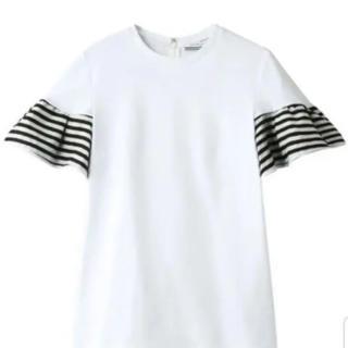 バーニーズニューヨーク(BARNEYS NEW YORK)のボーダーズアットバルコニー 袖フリル カットソー ホワイト 36(Tシャツ(半袖/袖なし))