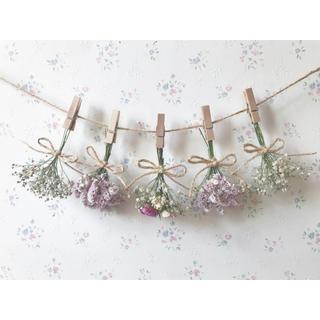 3種のバラとかすみ草のパステルピンクドライフラワーガーランド♡スワッグ♡(ドライフラワー)