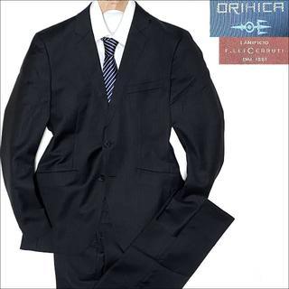 オリヒカ(ORIHICA)のJ5049 美品 オリヒカ チェルッティ生地 シャドーストライプスーツ濃灰Y6(セットアップ)