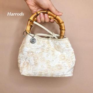 ハロッズ(Harrods)の美品 ハロッズ  フラワー刺繍ミニハンドバッグ かごバッグ(ハンドバッグ)