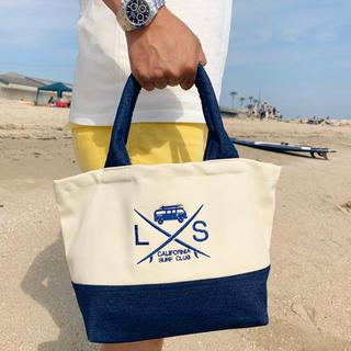 ロンハーマン(Ron Herman)の西海岸コーデ☆LUSSO SURF ミニトートバッグ デニム✖︎ホワイトRVCA(トートバッグ)
