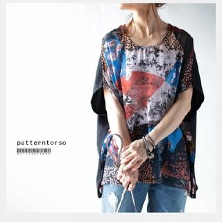 アンティカ(antiqua)の☆SALE☆アンティカ パッチワーク柄ドルマンシャツ(シャツ/ブラウス(半袖/袖なし))