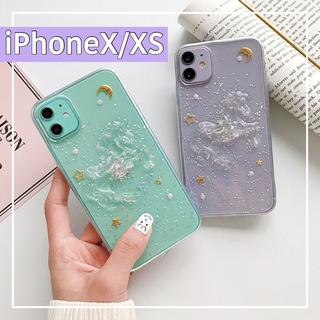 エブリン(evelyn)のiPhoneXS/X  iPhoneケース スマホケース クリア ユニコーン (iPhoneケース)