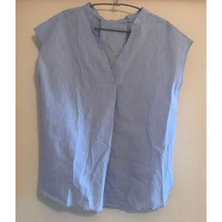 ジーユー(GU)の未使用!GUブルーストライプシャツ(シャツ/ブラウス(半袖/袖なし))