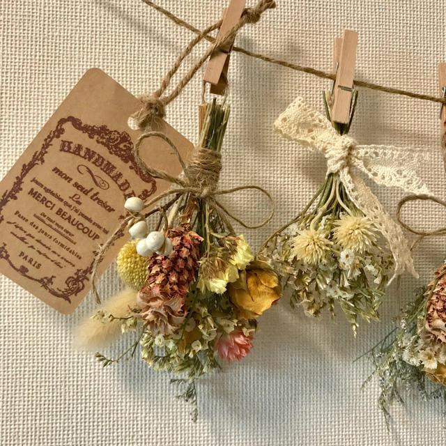 お花たっぷりドライフラワー スワッグ ガーランド❁¨̮㉚黄色 オレンジ 花束❁⃘ ハンドメイドのフラワー/ガーデン(ドライフラワー)の商品写真