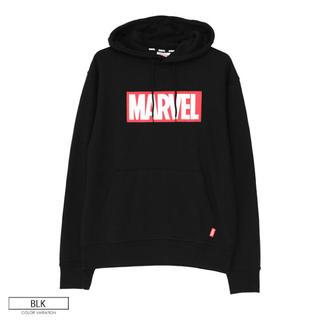 マーベル(MARVEL)の【新品】MARVEL パーカー フリーサイズ ブラック ボックスロゴ(パーカー)