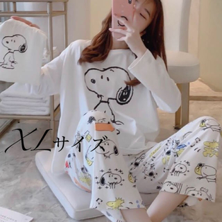 長袖パジャマ スヌーピー巾着付き XLサイズ(パジャマ)