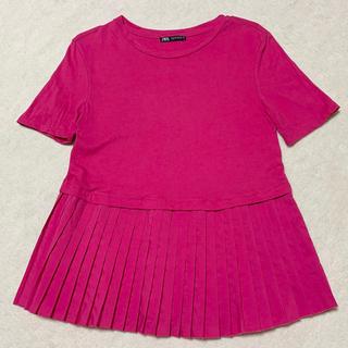 ザラ(ZARA)のZARA シンプルTシャツ プリーツデザイントップス(Tシャツ(半袖/袖なし))
