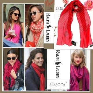 ラルフローレン(Ralph Lauren)の完全新品 セール★ラルフローレン スカーフ 贈り物に 若返りのお色 シルク水玉(バンダナ/スカーフ)