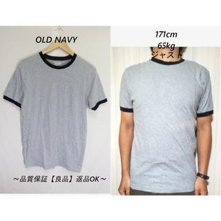 オールドネイビー(Old Navy)のOLD NAVY霜降りリンガーTシャツ/USA古着ブランドグレイS(Tシャツ/カットソー(半袖/袖なし))