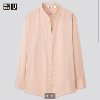 ユニクロ(UNIQLO)の【未使用】UNIQLO U シアーバンドカラーシャツ Lサイズ ピンク(シャツ/ブラウス(長袖/七分))