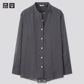 ユニクロ(UNIQLO)の【未使用】UNIQLO U シアーバンドカラーシャツ Lサイズ ブルー(シャツ/ブラウス(長袖/七分))