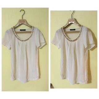 ビッキー(VICKY)のシルク100% パステルイエロー 半袖 カットソー シルク クリーム色 高級(カットソー(半袖/袖なし))