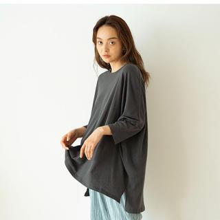 シールームリン(SeaRoomlynn)のコットンリネンスラブカットソー  ウォッシュブラック(Tシャツ(長袖/七分))