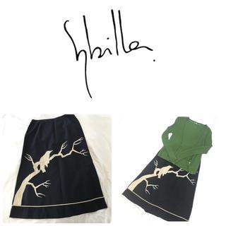 シビラ(Sybilla)の美品 シビラ sybilla 鳥柄 Aラインスカート おまけ付き(ひざ丈スカート)