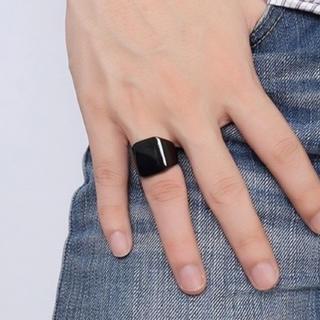 スクエアリング 印台カレッジリング ✨ブラック✨メンズ(リング(指輪))