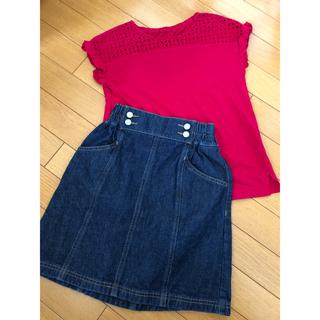ジーユー(GU)のジーユー トップスとデニムスカート セット(Tシャツ/カットソー)