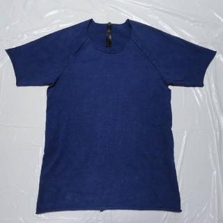 ダブルジェーケー(wjk)の高級ストレッチ美シルエット美色美品◆WJK Cネック 半袖Tシャツ 青L◆AKM(Tシャツ/カットソー(半袖/袖なし))