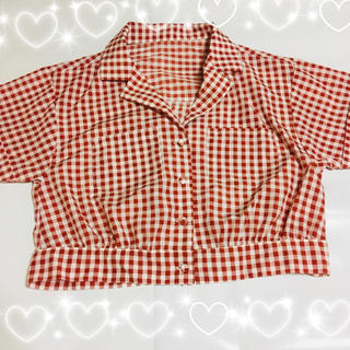 スピンズ(SPINNS)の赤チェックシャツ(シャツ/ブラウス(半袖/袖なし))