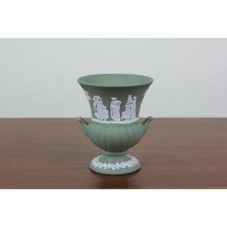 ウェッジウッド(WEDGWOOD)のウェッジウッド ジャスパー 花瓶 セージグリーン フラワーベース ヴィンテージ(花瓶)