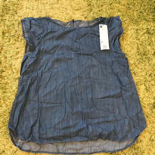 ジーユー(GU)のテンセルデニムフリルブラウス M(シャツ/ブラウス(半袖/袖なし))