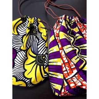【専用】アフリカ布でつくった巾着ふたつ(その他)