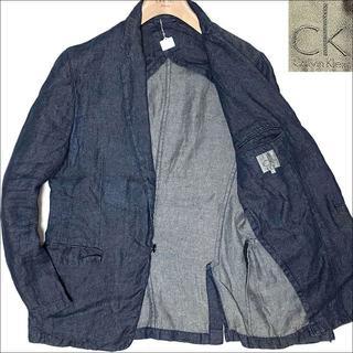 カルバンクライン(Calvin Klein)のJ3062 美品 カルバンクライン リネンデニム テーラードジャケット 濃紺XL(テーラードジャケット)
