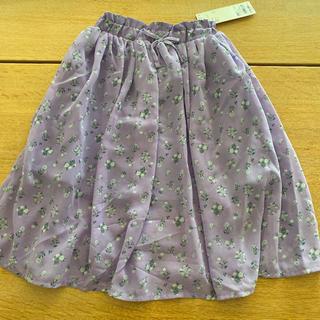ジーユー(GU)のGU シフォンスカート 花柄 110 パープル(スカート)