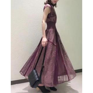 スナイデル(snidel)の新品タグ付き スナイデル スィッチングレースドレス ミント ピンク(ロングドレス)