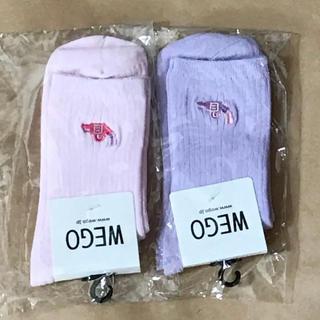 ウィゴー(WEGO)のWEGO レディースソックス 2足 カラーワンポイント ピンク パープル(ソックス)