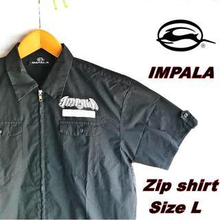 インパラ(IMPALA)の【IMPALA】インパラ半袖ジップシャツ 黒 Lサイズ(シャツ)