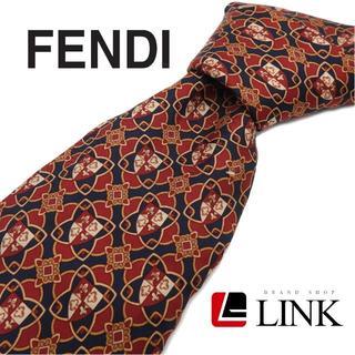 フェンディ(FENDI)のフェンディ FENDI ネクタイ シルク レッド×濃いネイビー(ネクタイ)