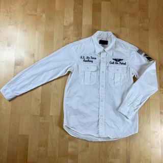 アヴィレックス(AVIREX)の【美品 Avirex】アヴィレックス 刺繍長袖シャツ Sサイズ ホワイト(シャツ)