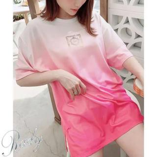 レディー(Rady)のレディー グラデーション Tシャツ ピンク Mサイズ グラデ オーバーサイズ(Tシャツ/カットソー(半袖/袖なし))