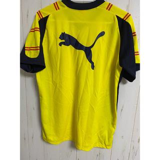 プーマ(PUMA)のプーマTシャツ 黄色にネイビー切り替え(ウェア)