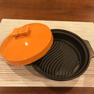 美品 無水鍋 スチーム鍋 リボン蓋 タジン鍋 ヘルシー料理(鍋/フライパン)