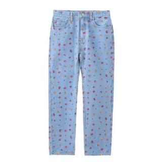 エックスガール(X-girl)のX-girl 花柄 刺繍 デニムパンツ FLOWER DENIM PANTS(デニム/ジーンズ)