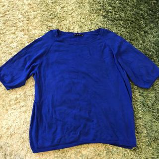 ザラ(ZARA)のZARA サマーニット ブルー (カットソー(半袖/袖なし))